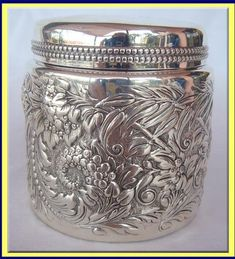 ANTIQUE ST SILVER GORHAM REPOUSSE VANITY BOX -JAPANESE - c.1880| Antiques.com