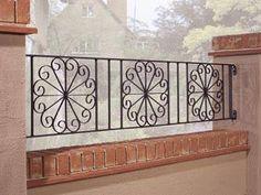Resultado de imagen para wrought iron railings Wrought Iron Garden Gates, Wrought Iron Stair Railing, Gates And Railings, Wrought Iron Decor, Iron Balusters, Balcony Grill Design, Balcony Railing Design, Window Grill Design, Door Gate Design