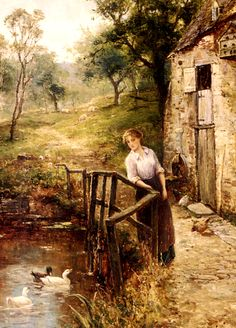 Woman at the Mill Pond ~ Ernest Walbourn ~ (English: 1872-1927)
