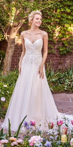 rebecca ingram 2017 bridal sleeveless spagetti strap sweetheart neckline heavily embellished bodice romantic a  line wedding dress chapel train (marjorie) mv
