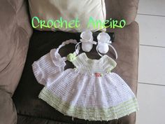 Crochet baby dress with shoes and headband