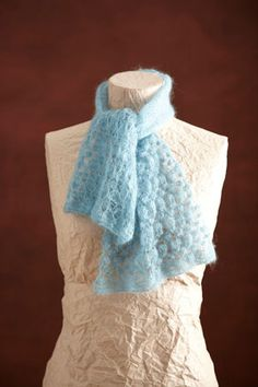 Hazy Blue Lace Scarf - done with a bubble stitch. I should give this stitch a try! I love that it looks so airy...
