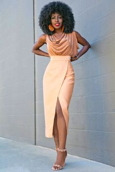 Cowl Neck Blouse + Tan Front Slit Midi Skirt Outfit Details: Blouse (sold out): Similar here or here   Skirt: Available here, similar here, here or here   Shoes: Alaia Fashion Look by Style Pantry