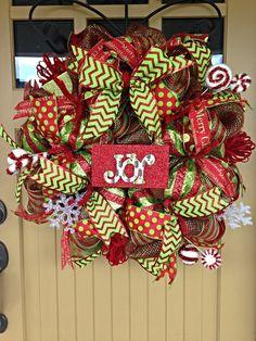 Christmas Deco Mesh Wreath Deco Mesh Wreath Merry by BlondeMoxie