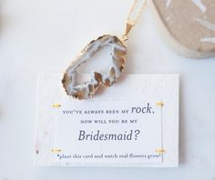 Will You Be My Bridesmaid Gold Tone Druzy Geode by ShopHazelandIvy