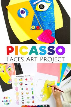 Looking for easy art projects for kids to do at home or school? These Picasso faces art projects for kids are made with paint + are simple + fun + creative! Get step by step videos + printable art tem Kunst Picasso, Pablo Picasso, Picasso Art, Picasso Drawing, Picasso Paintings, Picasso Kids, Easy Art Projects, Projects For Kids, Crafts For Kids