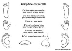 Comptine corporelle Teaching French Immersion, Transition Songs, French Poems, French Worksheets, Apple Activities, French Kids, Kids Daycare, Core French, French Classroom