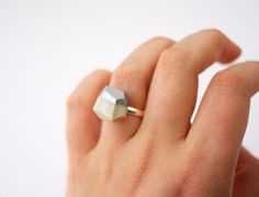 black OR pearl silver dipped geo ring / AMM Jewelry