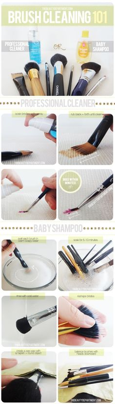 Clean make-up brushes with baby shampoo - I've been using Johnson's conditioning baby shampoo for mine for the last year, cleans better than anything and keeps them soft! I wonder if it would make a better face make-up remover too? makes sense
