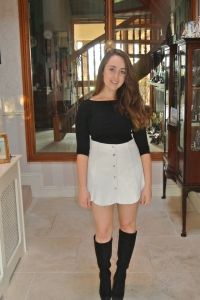 Folksier Leather Skirt and Knee High Boots