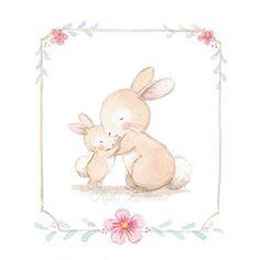 Ilustración abrazo conejitos