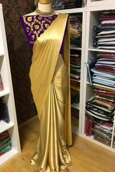 Solid Satin Sarees with Jacquard Blouse from Stf Store Satin Saree, Silk Satin, Silk Sarees, Indian Sarees, Saris, Ethnic Sarees, Brocade Blouses, Satin Blouses, Golden Saree