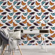 Butterfly Pattern Removable Wallpaper, Cool Colorful Wall Cling, Insect Peel and Stick, Modern Home Decor, Decorative Wall Mural Decal - Smooth Wall Decal / 1 roll: 24W x 120H