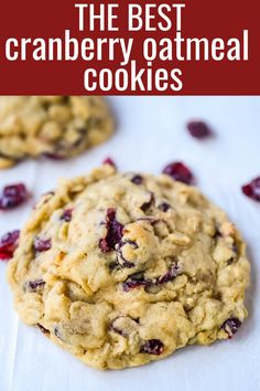 Soft chewy brown sugar oatmeal cookies with sweetened dried cranberries. A chewy and hearty oatmeal cookie that everyone will love! Oatmeal Craisin Cookies, Soft Chewy Oatmeal Cookies, Healthy Oatmeal Cookies, Oatmeal Cookie Recipes, Easy Cookie Recipes, Sweet Recipes, Cookies Soft, Baking Recipes, Dessert Recipes