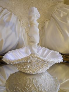 Flower Girl Basket handmade of white satin and ivory wedding lace and pearls…