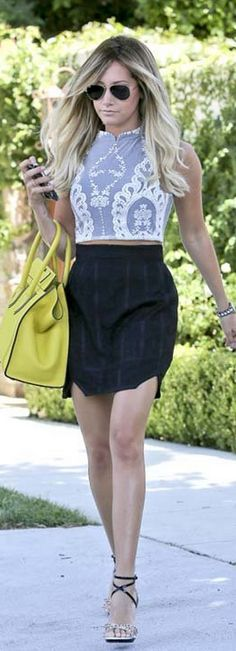 Who made  Ashley Tisdale's aviator sunglasses, white lace top, yellow tote handbag, and studded sandals that she wore in Toluca Lake on July 23, 2013?