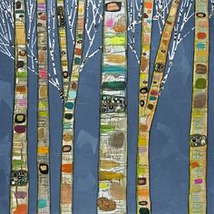 Ebern Designs 'Birch Trees On Cobalt' - Wrapped Canvas Print, Format: Wrapped Canvas, Canvas & Fabric in Brown/Blue, Size 30