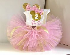 Pink and Gold Minnie Mouse Outfit First Birthday Minnie