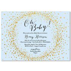 """Remy"" Blue   Gold Glitter Baby Shower Invitation from Digibuddha"