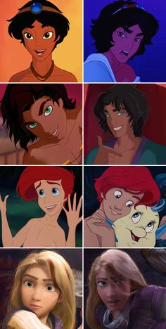 Disney Gender Bender (Aladdin, Esmerelda, Ariel, rapunzel)