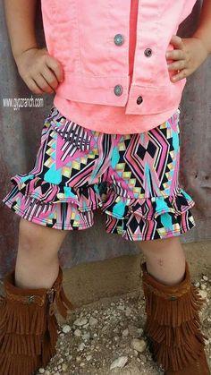 Kids - Be Unique Tribal  Ruffle Shorts www.gypzranch.com