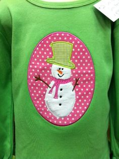 Applique Cafe Snowman - love designs on shirts other than white!