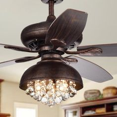 Shop for Fredix Speckled Bronze Ceiling Fan with Hooded Crystal Chandelier (Remote Controlled & 2 Color Option Blades). Get free delivery On EVERYTHING* Overstock - Your Online Ceiling Fans & Accessories Store! Get in rewards with Club O! Ceiling Fan Chandelier, Bronze Ceiling Fan, Rustic Chandelier, Ceiling Lights, Chandeliers Modern, Floral Chandelier, Chandelier Bedroom, Ceiling Tiles, Tiffany Ceiling Fan