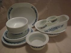 Large Lot 24 Pieces Corelle Old Town Blue Onion Dishes by reclaims, $48.00