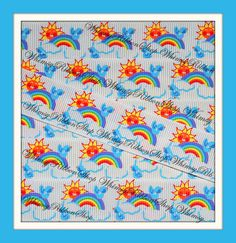 New 3 yards 7/8 OVER The RAINBOW blue Birdies by WhimsyRibbonShop, $3.99