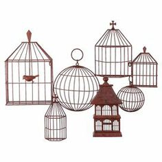 """Add vintaged appeal to your living room or kitchen with this distressed metal wall decor, showcasing an array of birdcage-inspired designs.  Product: Wall decorConstruction Material: MetalFeatures: Birdcage-inspired designDimensions: 28.75"""" H x 41"""" W x 4"""" D"""