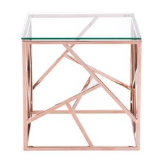 Slim and sleek perfection as a stunning Cage side table is created with slim angled strip designs and finished with clear tempered glass top. Cage occasional collection includes side, coffee table in both stainless steel and rose gold finishes. Room Decor Bedroom Rose Gold, Glitter Bedroom, Rose Gold Rooms, Rose Gold Decor, Diy Bedroom Decor, Bedroom Furniture, Office Furniture, Gold Home Decor, Furniture Nyc