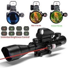 UUQ C4-12X50 Rifle Scope Dual Illuminated Reticle W/Red Laser & Dot Sight | Sporting Goods, Hunting, Scopes, Optics & Lasers | eBay!