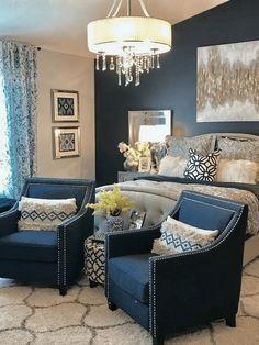 Yellow Door Interior: Navy and Grey Master Bedroom Decor. Blue Master Bedroom, Romantic Master Bedroom, Master Bedroom Makeover, Master Bedroom Design, Home Decor Bedroom, Bedroom Ideas, Master Master, Master Suite, Bedroom Furniture
