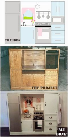 DIY play kitchen made from a TV stand. Includes instructions, prices and supply list: