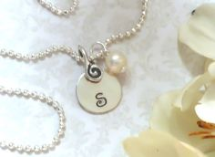 STERLING Disc 12mm  Hand Stamped Initial Letter S by FireflyzLLC, $17.50