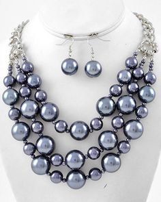 Grey Beads Faux Pearl Silver Tone Bib Layered Statement Necklace & Earrings Set #Jewelry #Deal #Fashion
