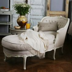 """Eloquence"" white Rococo chaise with Shabby Chic accents from Layla Grace."