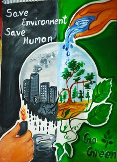 So creative and telling about planting Save Environment Poster Drawing, Environment Painting, Save Environment Posters, Environment Day, Earth Drawings, Art Drawings For Kids, Art Drawings Sketches Simple, Nature Drawing For Kids, Save Water Poster Drawing