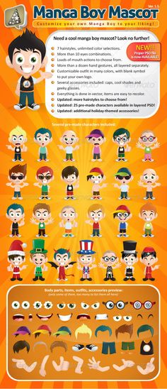 This is a fun boy mascot creation kit in manga cartoon style. Lots and lots of style options for each body parts, including different hand gestures, outfits and accessories. Everything is properly named and layered for easier editing.