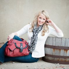 Katie Genereau with Grace Adele   Red Purse   Purse Fashion   Zebra Scarf   Classic Contemporary Fashion   Photo By Courtney Cook Photography