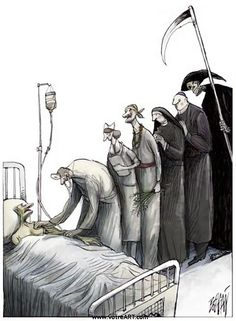 Procession of Bedside Visitors: Front of line MD. Back of line Grim Reaper Arte Horror, Horror Art, Art And Illustration, Fantasy Kunst, Fantasy Art, Caricatures, Pictures With Deep Meaning, Art Noir, Meaningful Pictures