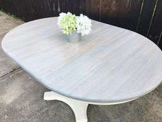 https://m.facebook.com/flippingreatfurniture/ Weathered Grey solid Wood Dining Table- minwax classic grey stain and white washing technique over. Light dry brushing of cream and then rubbed in more grey stain. Sealed with minwax satin poly acrylic