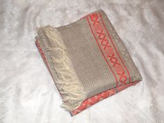 SALE! 20% off! Vintage unused linen Jacquard Rushnik towel. Український рушник. Table runner. Home or kitchen decor. Farmhouse decor. Rustic