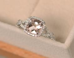 pink morganite ring silver stacking ring morganite by godjewelry