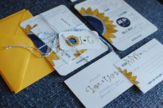© Copyright Turquoise Feathers Wedding Design |  Yellow & Navy creative sunflower wedding invitations