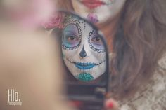 hlo photography kull candy body painting haute savoie portrait smile Prayer in c make up sugarskull flowers shooting bodypainting France photo art haute savoie Hlo photography model skeleton