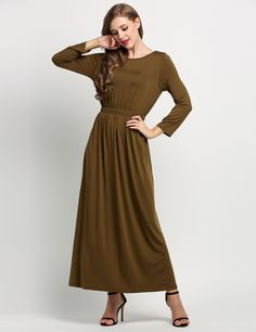 Black Boat Neck Long Sleeve Pleated Full Length Casual Dresses