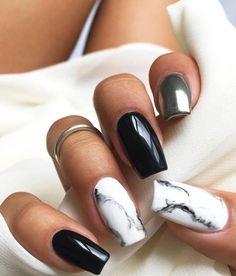 Silver Nail Designs, Marble Nail Designs, Cute Acrylic Nail Designs, Nail Art Designs, Nails Design, Black And White Nail Designs, Plain Acrylic Nails, Acrylic Nails Coffin Short, White And Silver Nails