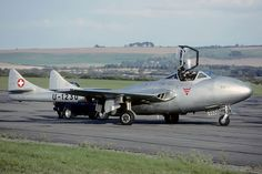 Military Jets, Military Aircraft, Air Fighter, Fighter Jets, De Havilland Vampire, Swiss Air, Old Planes, Navy Aircraft, Royal Air Force