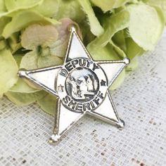 Vintage Deputy Sheriff Star Police Badge Tin toy retro Halloween costume children nursery décor decorative cracker jack prize premium by WonderCabinetArts